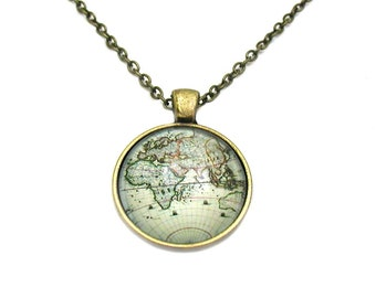 World Map Necklace, Map Pendant, Map Jewelry, Explore Necklace, Travel Necklace, World Map, Map Necklace, Travel Jewelry, World Globe Charm