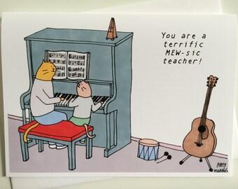 Music Teacher Cat Thank You Card - 5x7