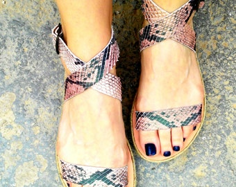 "Sales / -50% aelia ""amethyst"" sandals/snake/handmade leather sandals /greek sandals in flatform with rope"