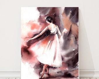 Ballerina Fine Art Print, Watercolor painting of ballerina, abstract background, modern ballet wall art