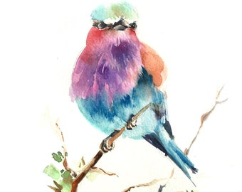 Lilac Bird Wall Art Print, Bird Watercolor Painting, Bird Print, Watercolor Print, Bird Painting