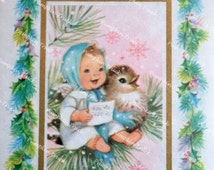 Vintage Christmas Card - Angel and Bird in Tree - Used Rust Craft
