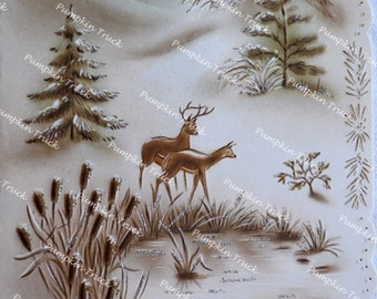 Vintage Christmas Card - Sepia Glitter Mantle of Ermine Deer at Snowy Pond - Used