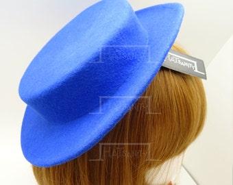 TRENDY Fashion Plain Wool Felt Mini Boater Hat Fascinator DIY - Blue