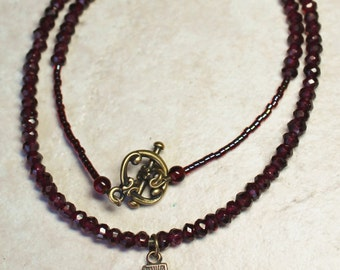 Woman's Catholic Necklace; Garnet Scapular Necklace; Jesus & Mary Necklace
