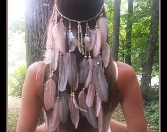 blush love feather headband, feather headband, cream feather headband, natural feather headband, feather hair piece, short feather headband