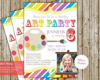 Paint Art Party Invitation Birthday Card Digital Printable DIY, Rainbow Easel Paintbrush - 4x6 or 5x7