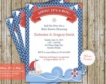 Ahoy Its a Boy Invitation Baby Shower Invitation Printable Nautical Beach Sailboat Baby Shower Invite Baby Boy