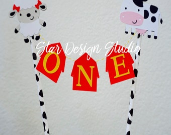 """Farm Cake topper """"One""""  Cow and Sheep  Cake Topper Birthday bunting-  Any age and name available"""