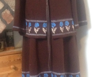 1970s Hippy, boho, folk Knitted skirt and Jacket size 10-12