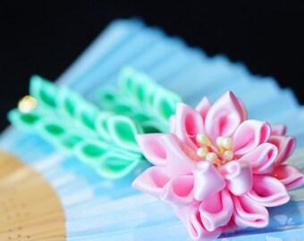 Water lily hairpin/clip kanzashi