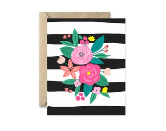 Flower Bouquet Note Card, Black and White Stripes
