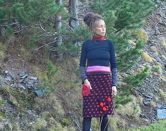 """jupe """"Flamenco"""" rouge et noire en patchwork d'hiver"""
