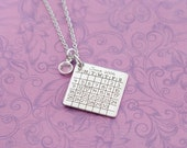 Save the Date Calendar Necklace with Birthstone - Stainless Steel Chain - Engraved Jewelry - Anniversary - Wedding Date - Bridal Shower Gift