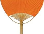 Mango Orange Paper Paddle Fan Bamboo Beach Favor Summer Destination Wedding Outdoor Indoor Birthday Party Supplies Events Decor