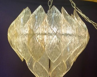 Folded Lucite Pendant Chandelier