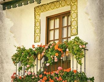 Spain Photography, Window, Flowers, Balcony, Fine Art Print, Europe, Spanish Decor, Travel Photo, Tile, Wall Art, Pink, Green, Yellow