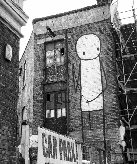 Street Wall Art Black And White : Black and white wall art stik street graffiti print