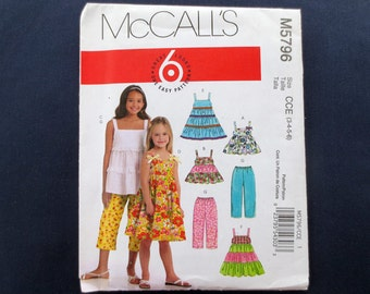 Tiered Girls' Dress & Top and Capri Pants Uncut Pattern, McCalls 5796, Size 3, 4, 5, 6