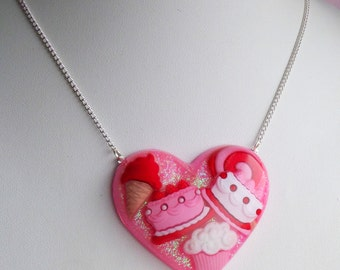 Sweet Tooth Cupcake Valentines Ice Cream Candy Cute Kawaii Kitsch Necklace Heart Love Red Pink White Glitter