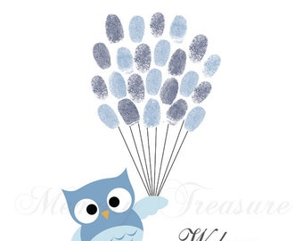 Baby Shower Guest Book Alternative Owl Thumbprint Guestbook Owl Fingerprint Guestbook Owl Baby Shower Thumbprint Owl Children Kids Birthday