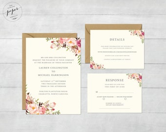Rustic Wedding Invite Floral Wedding Invitation Boho Wedding Invite Wedding Invite Floral Printable Wedding Invitation Suite Barn III Set