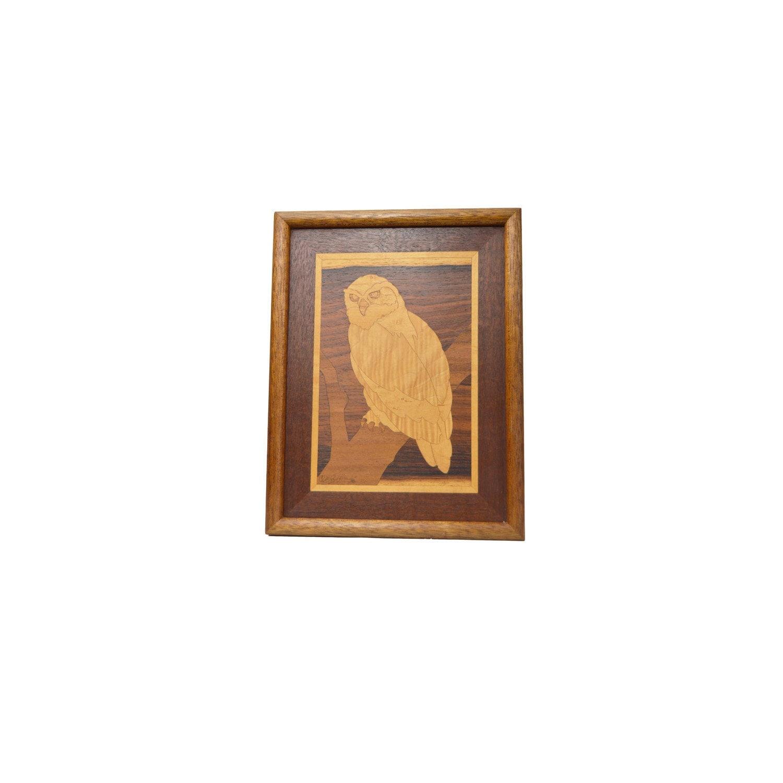 Wooden Owl Wall Decor : Owl marquetry wooden wall art owls