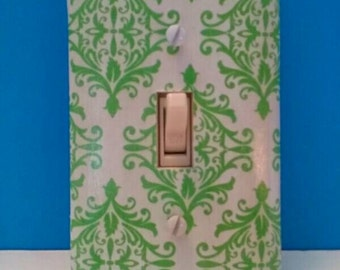Gorgeous Decoupaged Single Light Switchplate Cover, Decorative Switchplate, Green Pattern, Wall Art, Handmade Switchplate, Made By Mod.