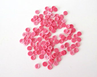 Tiny Pink Buttons - Vintage Sewing Supplies - Vintage Craft Supplies