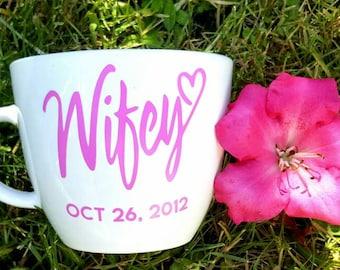 Wifey coffee mug - wife cup - wife mug - bride coffee mug - bride mug - bride cup - wedding gift for bride - bridal shower gift - wifey