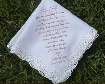Mother of the Bride Gift Mother of the bride handkerchief mother of the Groom gift Wedding Handkerchief PRINTED handkerchief ...(H 022)