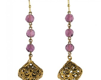 Vintage earrings of gilt filigree and amethyst glass beads on gold plated earwires. (erbg854)