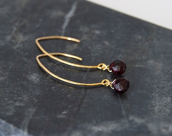 Garnet and Hammered Gold Drop Earrings