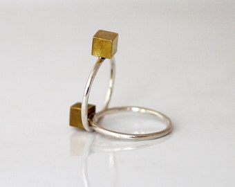 Gold  cube ring, Sterling Silver Cube ring , Gold brass ring , Stackable ring , Minimalist , Geometric jewelry, gift for her
