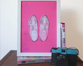 Pretty in Pink Duckie's Creepers Illustrated 1980s Movie Art Print - Sizes A4/A5/5 x 7""