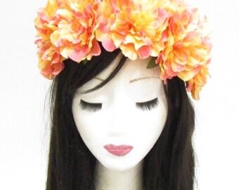 Large Orange Flower Headband Sugar Skull Halloween Day of the Dead Big Goth 796