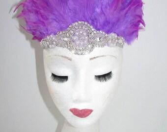 Pink Purple & Silver Feather Headdress Headband 1920s Showgirl Carnival 30s Y37