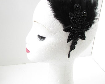 Black Feather Fascinator Headband Headpiece Races 1920s Flapper Great Gatsby A77