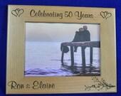 Anniversary Gift ~ 50th Anniversary ~ Milestone Anniversary Gift ~ Custom Picture Frame ~ Anniversary Frame ~ Engraved Anniversary Gift ~