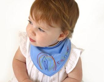 Personalised dribble bib - Your Childs Drawing - Trendy baby clothes - Custom baby bandana bib - Unique baby gift - Baby girl bib