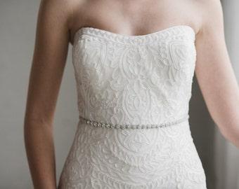 Thin Silver Bridal Belt | Skinny Silver Crystal Wedding Sash | Silver Wedding Dress Sash | Silver Bridesmaid Sash Belt | THE DELPHINE