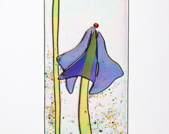 Handmade Graceful Periwinkle Blue Iris Fused Glass Sucatcher Ornament on Rainbow Iridescent Glass