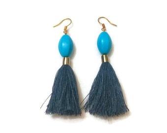 RESERVED FOR SARAH, Blue Bead Earrings, Long Tassel Earrings, Long Beaded Earrings, Beaded Earrings, Boho Earrings, Blue Earrings