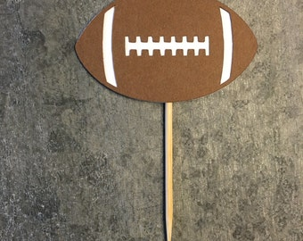 12 Cupcake Toppers, Football Cupcake Picks, Sports Tailgate Football Super Bowl Party, Sports Banquet, Football Potluck, Church Potluck