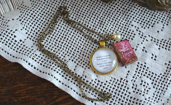 Book Nook, Classics Quote, Play Quote Necklace, Literature Necklace, Shakespeare, Romeo and Juliet, Rose Quote, Antique Gold, MarjorieMae