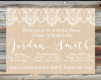 Rustic Burlap and Lace Bridal Shower Invitation - Burlap Bridal Shower Invite- Engagement Party Invitation - Bridal Shower White Lace Burlap