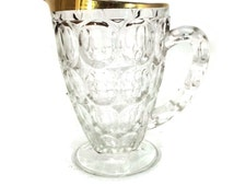 Vintage Gold Rimmed Thumbprint Pitcher from Jeannette Glass Company -- Barware with Groovy Style -- Circle Imprints -- GW0225