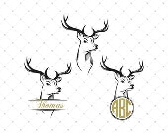 Deer Head Monogram Frames svg, Deer Head svg, Deer Split Monogram SVG, Cricut cut files, Silhouette cut files, Vinyl Cutters, Antlers svg