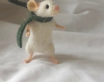 Little white mouse Needle Felt Kit - intermediate - The Wishing Shed - Ornament Gift