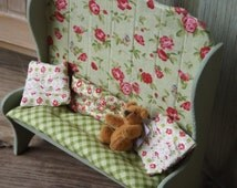 dolls house, miniature, dollhouse furniture, handmade shabby chic pine bench, one inch scale, handmade x